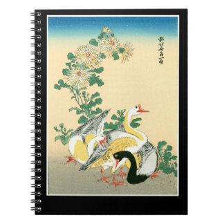 Bedöva den exotiska gässchrysanthemumen för japan anteckningsbok