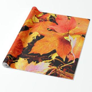 Bedöva djärv orange höst löv presentpapper