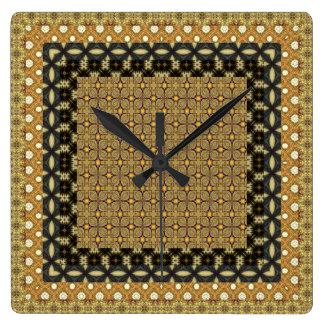 Bedöva guld och svart belade med tegel motiv fyrkantig klocka