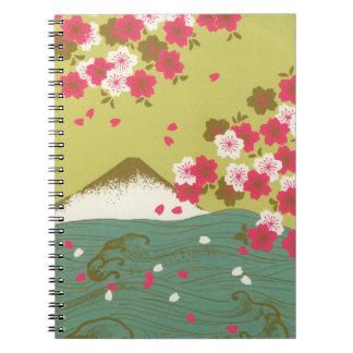 Bedöva Mount Fuji Japan rosa körsbärblommar Anteckningsbok