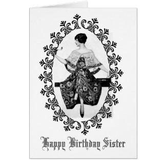 Bedöva systern för födelsedag för snöre för hälsningskort