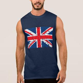 Bedrövad brittisk flagga ärmlösa tees