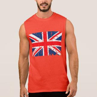 Bedrövad brittisk flagga sleeveless t-shirt