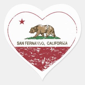 bedrövad Kalifornien flaggasan fernando hjärta Hjärtformat Klistermärke