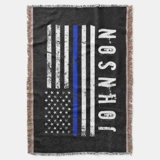 Bedrövad polisflagga för personlig namn filt