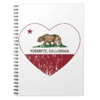 Bedrövad Yosemite Kalifornien republikhjärta Anteckningsbok