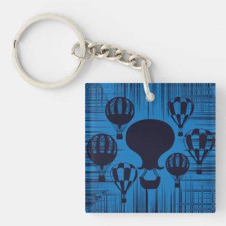 Bedrövade Grungeblått för vintage luftballonger Fyrkantigt Dubbelsidigt Nyckelring I Akryl