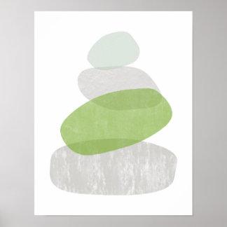 Bedrövat affischtryck för grönska abstrakt poster