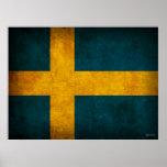 Bedrövat affischtryck för sverige flagga affischer