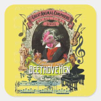 Beethoven för kompositörer för Beethovehen höna Fyrkantigt Klistermärke