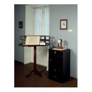 Beethovenrum som visar ett musikstativ vykort