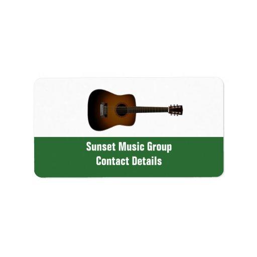 Befordrings- Avery för musiker och för musik Adressetikett
