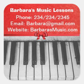 Befordrings- klistermärkear för pianokurser fyrkantigt klistermärke