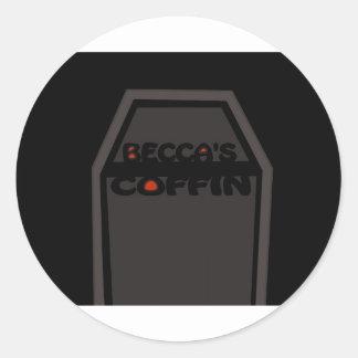 Befordrings- saker för Beccas kista Runt Klistermärke