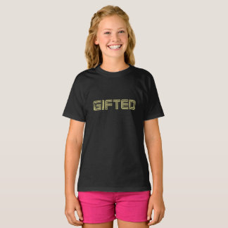 BEGÅVADE svart T-tröjaflickor Tee Shirts