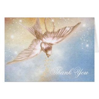 Begravnings- tackkort för elegant duva OBS kort
