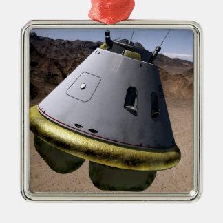 Begrepp av ett besättningutforskningfordon julgransprydnad metall