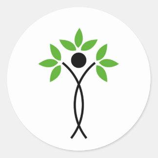 Begreppsmässig design av ett träd och en människa runt klistermärke