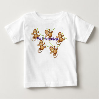 Begynna T-tröja för vit med fem lite apor… T-shirts