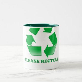 Behaga återvinnan. Återvinningmedvetenhet. Går Två-Tonad Mugg