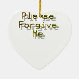 Behaga förlåter mig hjärtformad julgransprydnad i keramik