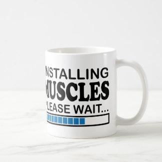 Behaga väntanblått, installera muskler kaffemugg