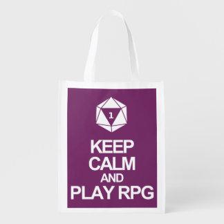 Behålla lugna och lekRPG Återanvändbar Påse