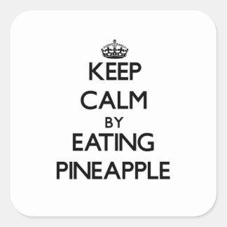 Behållalugn, genom att äta ananas fyrkantigt klistermärke