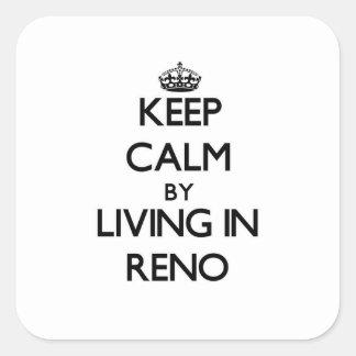 Behållalugn, genom att bo i Reno Fyrkantigt Klistermärke