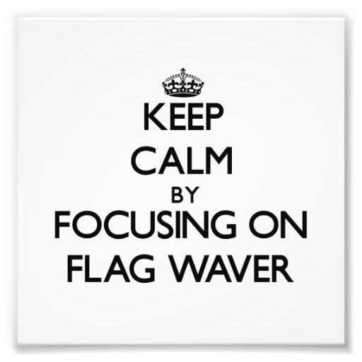 Behållalugn, genom att fokusera på flagga, Waver Fotografiska Tryck