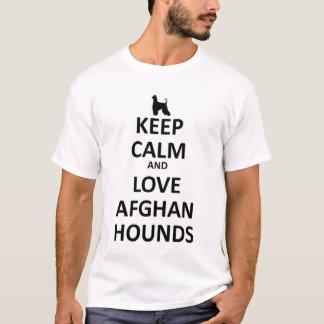 Behållalugn och afghan hundar för kärlek tee shirt