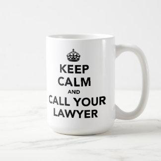 Behållalugn och appell din advokat vit mugg