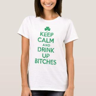 """Behållalugn och """"drink upp irländska satkäringar tee shirt"""