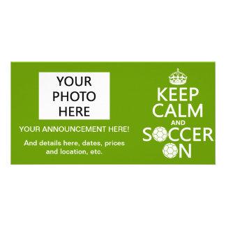 Behållalugn och fotboll på anpassade foto kort