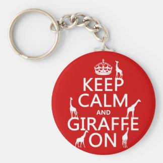 Behållalugn och giraff på (skräddarsy färger), nyckel ring