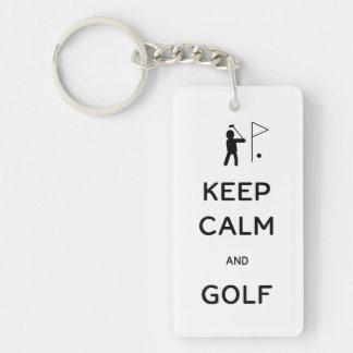 Behållalugn och Golf Rektangulärt Enkelsidig Nyckelring I Akryl