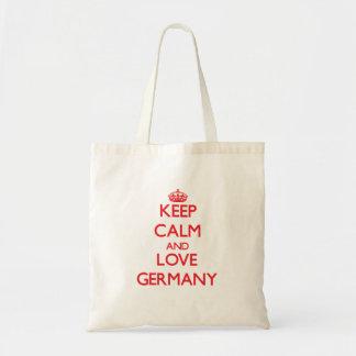 Behållalugn och kärlekTyskland Tote Bags