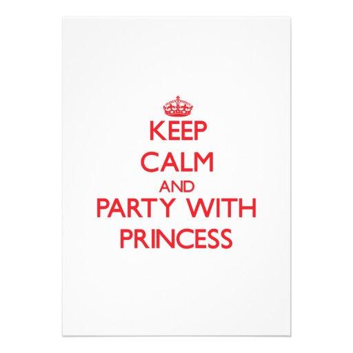 Behållalugn och party med princessen skräddarsydda inbjudan