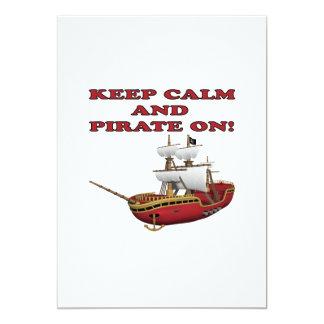 Behållalugn och pirat på 2 12,7 x 17,8 cm inbjudningskort