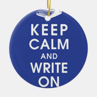 Behållalugn och skriva på prydnad julgransprydnad keramik