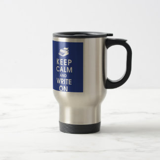 Behållalugn och skriva på travel mug resemugg