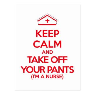Behållalugn och tar av din byxor vykort