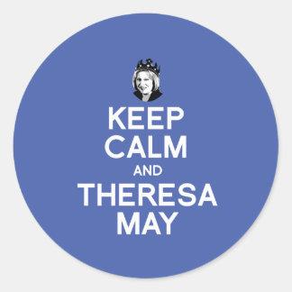 Behållalugn och Theresa maj -- - Runt Klistermärke
