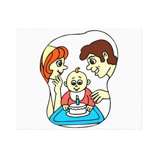 Behandla som ett barn den 1st grafiska födelsedage sträckt canvastryck