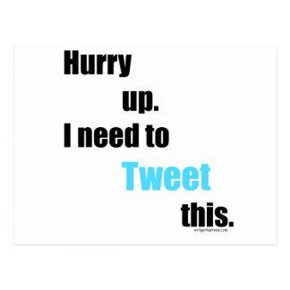Behov att tweet detta vykort