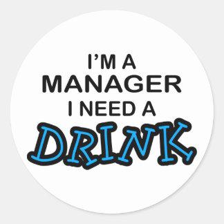 Behöv en drink - chef runt klistermärke
