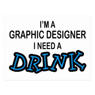 Behöv en drink - grafisk formgivare vykort