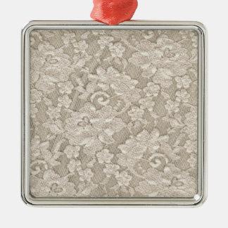 Beige blom- snöre för vintage julgransprydnad metall