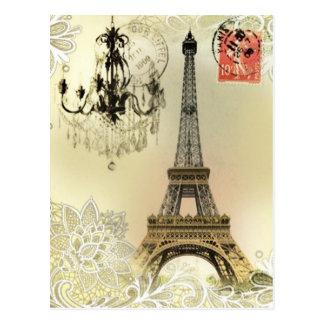 beige blom- snöreljuskronaparis eiffel torn vykort
