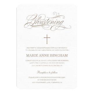 Beige inbjudan för dop för Christeninginbjudan |